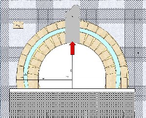 石窯の断面図。中央の赤矢印が燃焼排気で、上部の煙突へ向かいます。